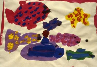 Painting of fish in an aquarium