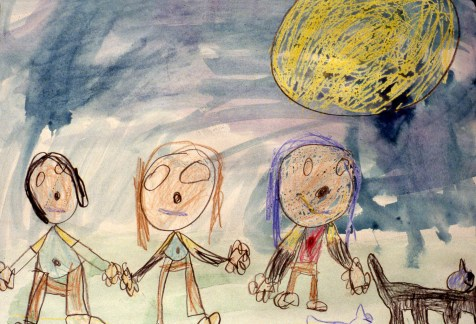 Drawing of three kids holding hands in friendship