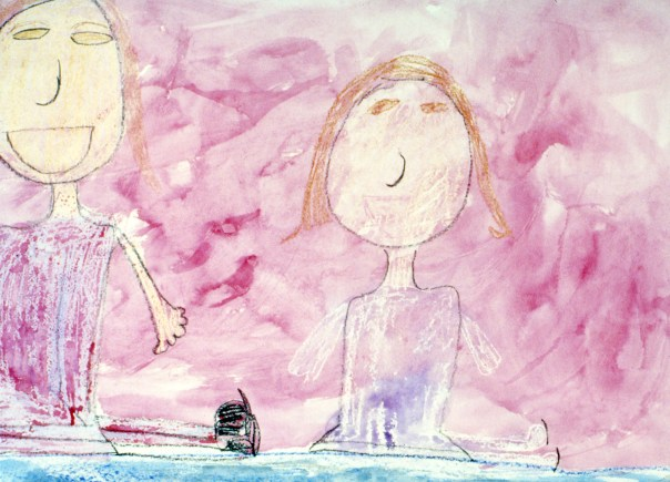 Drawing of two young girls ice skating