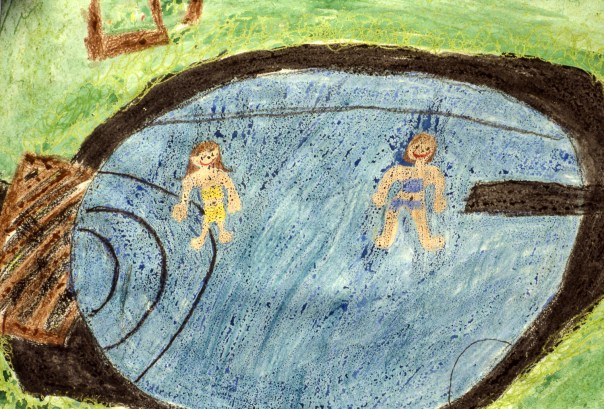Drawing of two girls in a swimming pool
