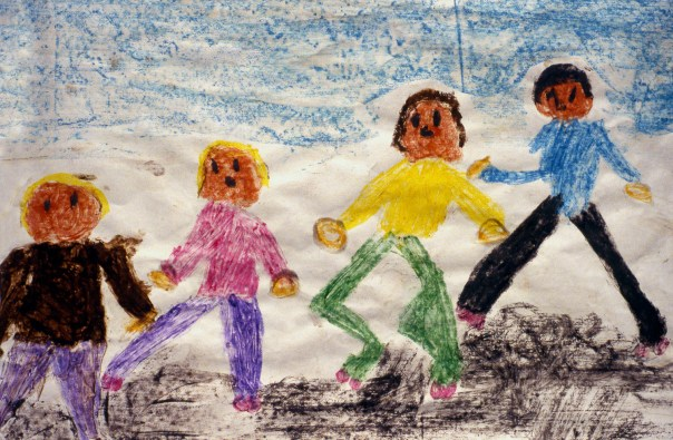 Child's drawing of four boys who are his brothers