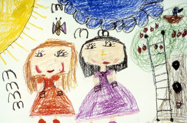 Child's drawing of two girls