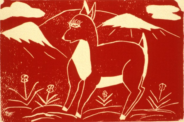Woodblock print showing a deer with mountains in the background