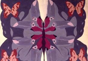 Drawing shows five butterflies