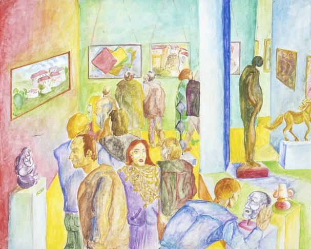 Image of people viewing art in a museum