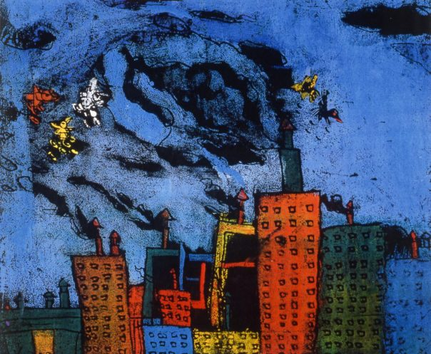 Painting of choking pollution in a Chinese city