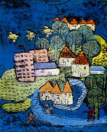 Drawing of a small town with birds flying over
