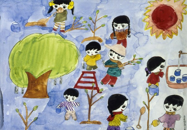 Simple drawing showing children watering and caring for trees