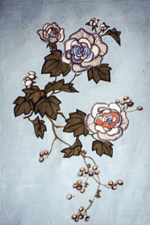 Drawing of a vine with white flowers