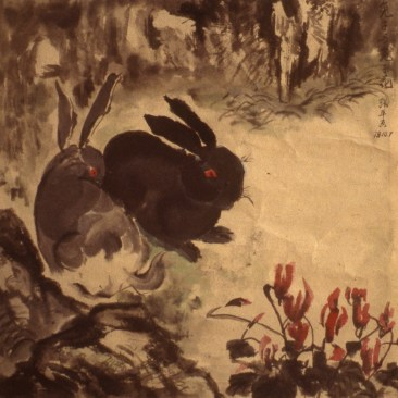 Image of two small rabbits in the woods