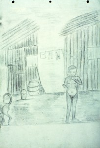 Drawing of young child in poverty
