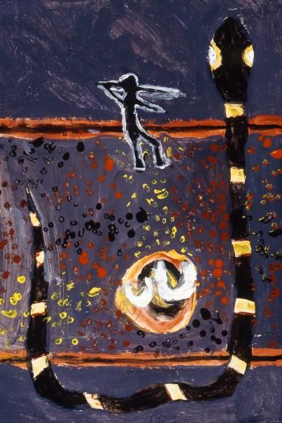 Stylized image of aborigine hunting a large python