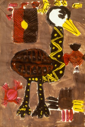 Aboriginal painting of an ostrich