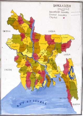 Hand-drawn map of Bangladesh