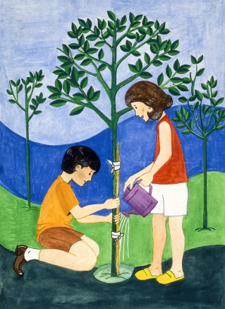 Drawing of boy and girl watering a tree