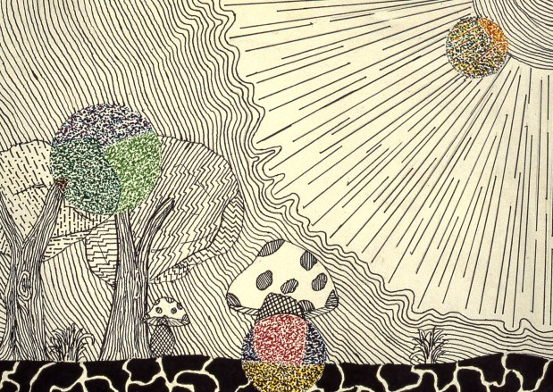 Abstract drawing of sun's rays nurturing the earth