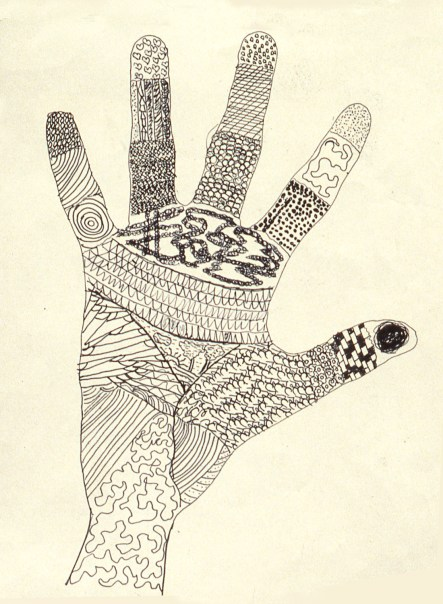 Drawing of human hand with map-like diagrams covering the surface