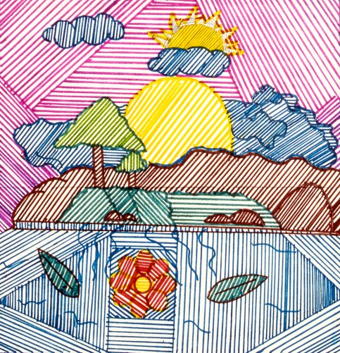 Abstract drawing depicting the dynamism of nature: sun, trees, mountains and flowers