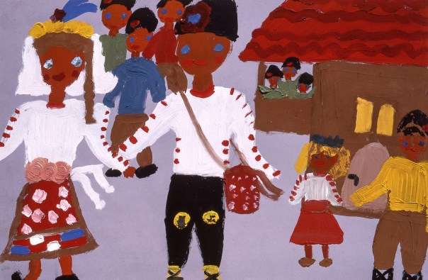 Painting of a Bulgarian family in traditional costumes