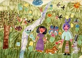 Painting of two women walking in a lush garden setting