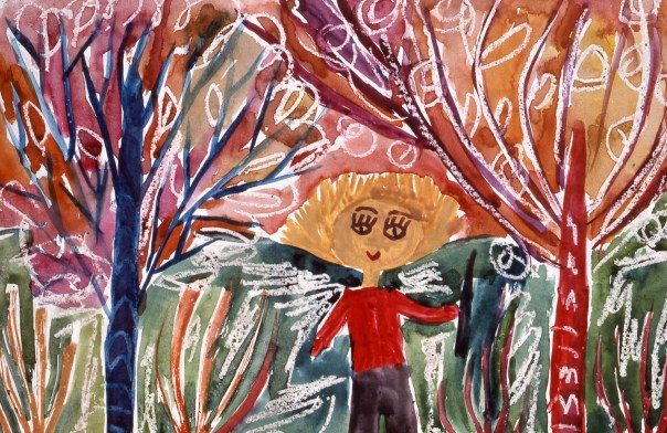Abstract image of child in a forest