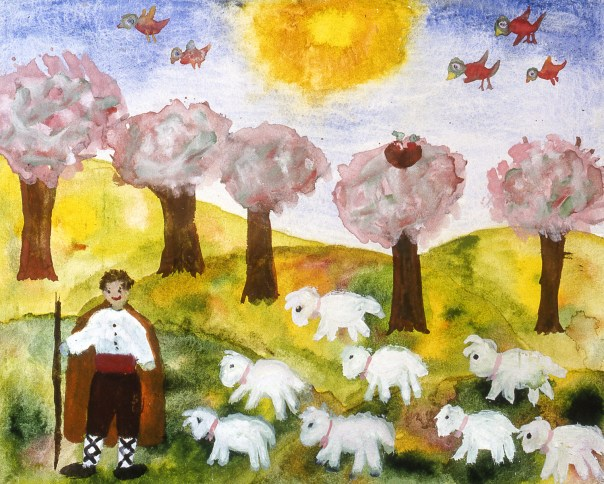 Painting of a Bulgarian shepherd with a flock of sheep