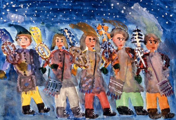 Painting of people dressed in costumes and celebrating