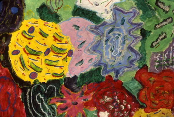 Painting of bright colored flower blooms