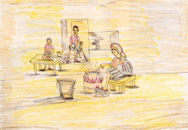 Crayon drawing of Nigerian woman cooking