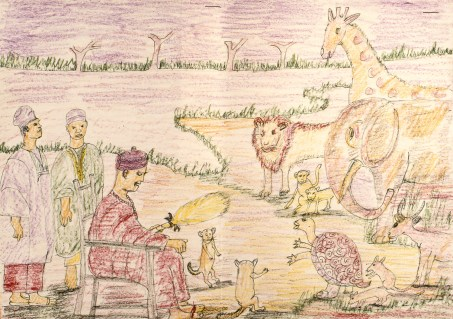 Child's crayon draweing of traditional folk fable