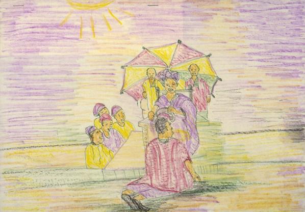 Crayon drawing of tribal king