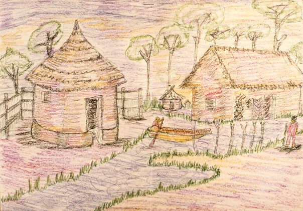 rayon drawing of Nigerian village