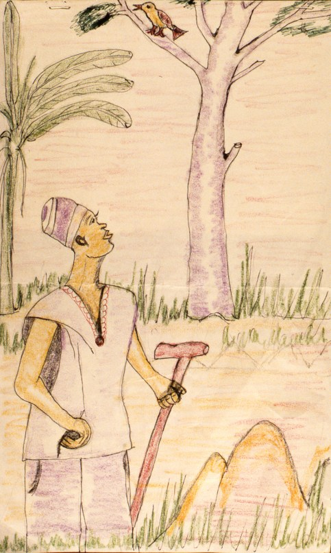 Crayon drawing of traditional folk tale