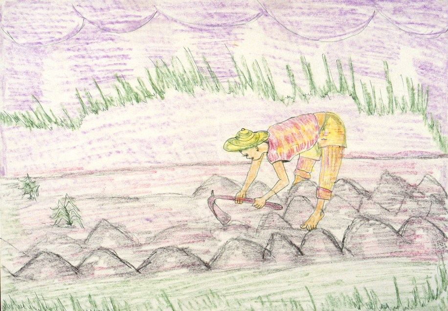 Crayon drawing of peasant tending his fields