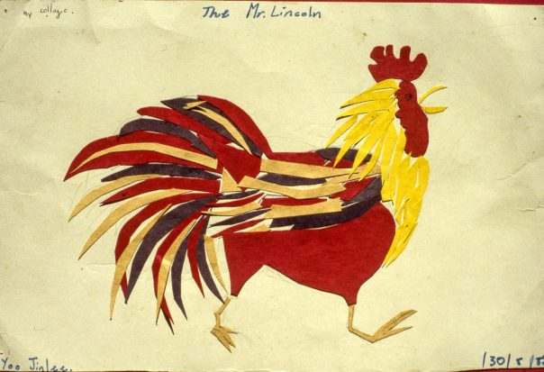 Image of cut out paper collage pasted to look like a rooster