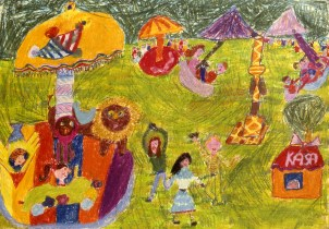 Child's drawing of a day at the amusement park