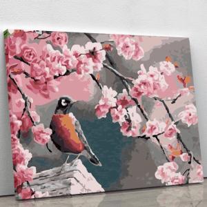 Bird amongst Pink Cherry Blossoms