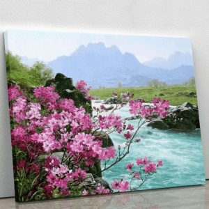 Pink Flowers by the rocky stream
