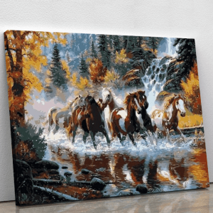 Team of horses running through river