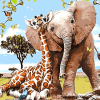 Paint by Numbers Kit Kids Elephant and Giraffe - Just Paint by Number