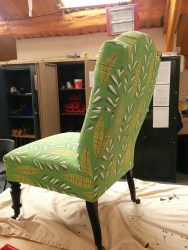 Traditionally reupholstered Victorain nursing chair - after - Joanne Mass