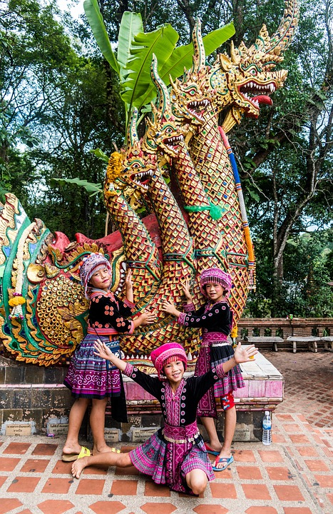 Thailand Chiang Mai Children Girls Person People