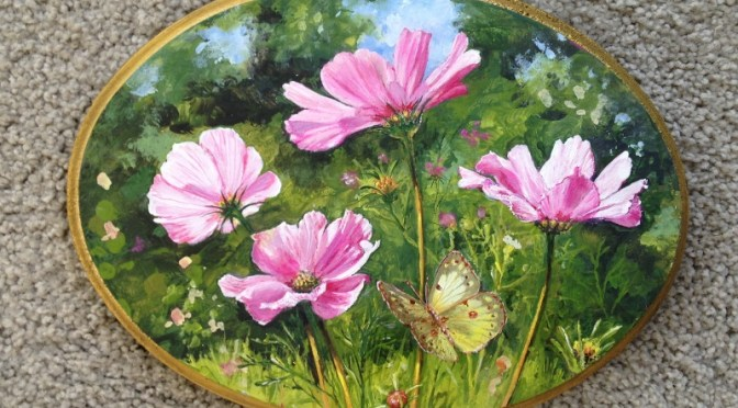 Cosmos in the Sun with a Green Butterfly