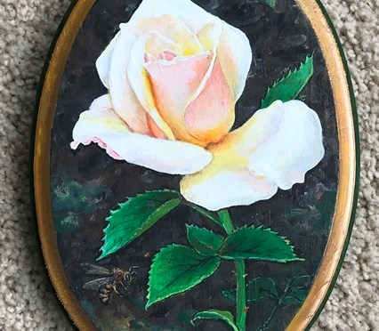 Pale Rose With Bee Plaque