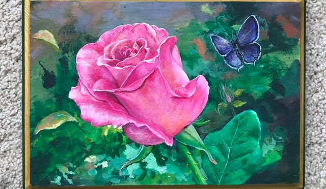 Fuchsia Pink Rose with Butterfly