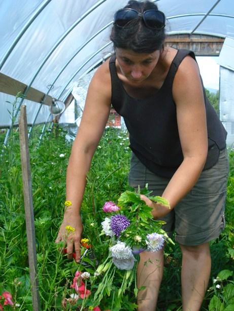 Nicole Picking flowers