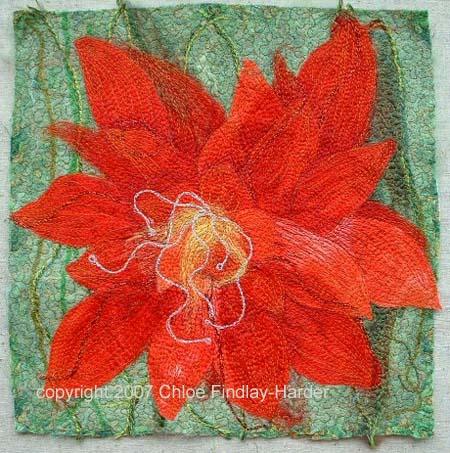 cactus bloom original art quilt by chloe findlay-harder