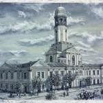 Станіславів, ратуша, 1910-ті роки, 90х60, полотно, олія, 2016р._Петро Грицюк