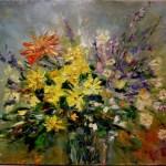 Цветочный букет,цветы-Август. х.м.50х40_Елена Жигилевич