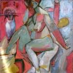 Девушка с цветами, 2004г. холст, масло, 75х75, Александр Шинин